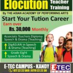 elocution Teacher training in kandy, etec campus